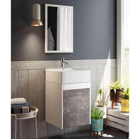 Mueble para baño o aseo aereo con lavabocerámico y espejo, color blanco y pizarra