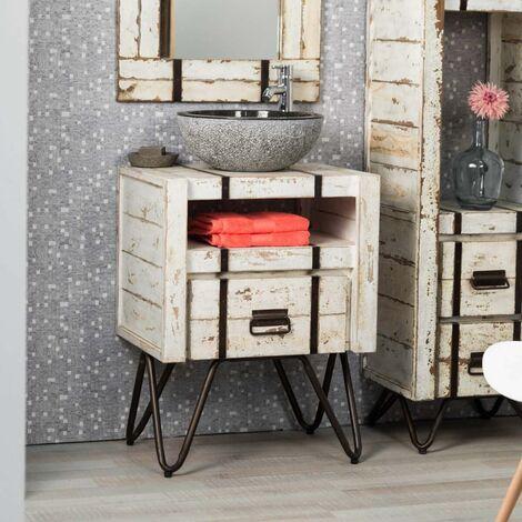 Muebles Para El Cuarto De Bano.Mueble Para Cuarto De Bano De Mindi 60 Cm Loft Blanco
