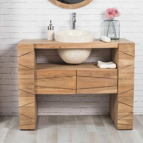Muebles Para El Cuarto De Bano.Mueble Para Cuarto De Bano De Teca Relax 110 Cm Lavabo Crema