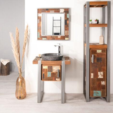 Mueble para cuarto de baño Factory teca metal 70 cm - 1358