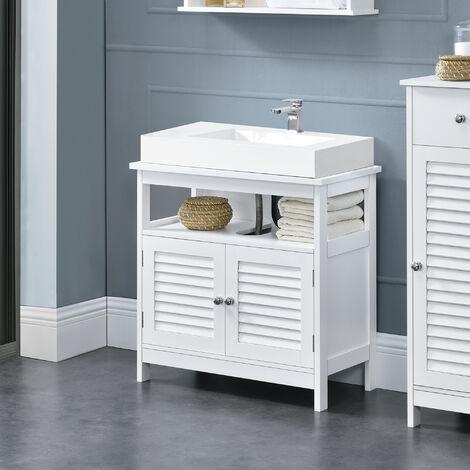 Mueble para debajo de lavabo con 2 puertas y con estante – 60x60x30cm – blanco