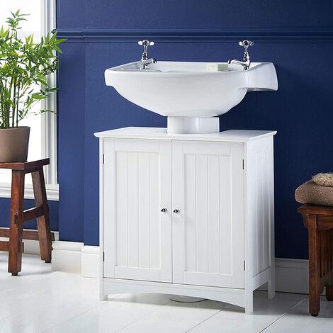 Mueble para Debajo del Lavabo, Armario de Baño de Suelo para Cuarto de Baño o WC 2 Puertas 60x30x60cm Blanco
