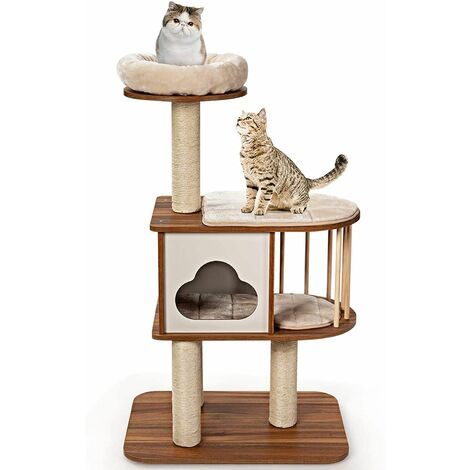 Mueble para Gatos Árbol Actividad para Gatos con Poste Rascador y Colchonetas Casa de Madera de Gato 68x48x117centímetros