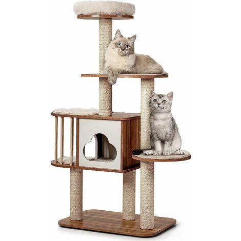 Mueble para Gatos Árbol Actividad para Gatos con Poste Rascador y Colchonetas Casa de Madera de Gato 68x48x142centímetros