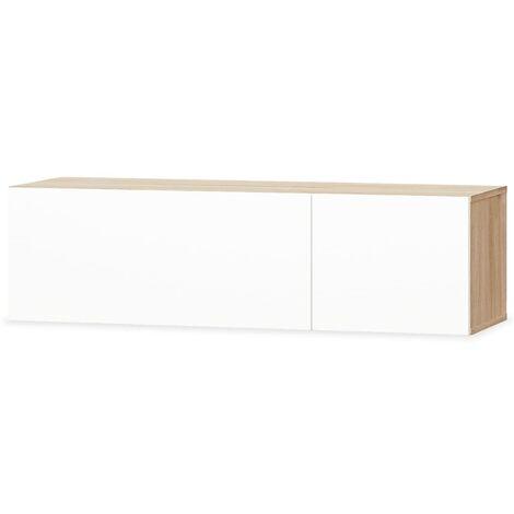 Mueble para la televisión aglomerado blanco brillante y roble
