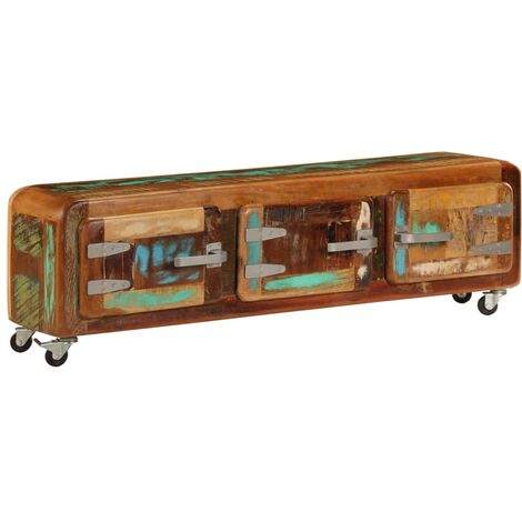 Mueble para la TV madera maciza reciclada 120x30x37 cm