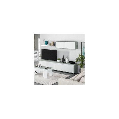 Mueble para Salón TV color blanco Artic y Cemento modelo GREY