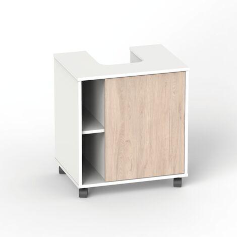 Mueble para tapar pie de lavabo, con ruedas, puerta y estantes, 64x59x45 cm(alto x ancho x profundo), color combinado blanco y roble aurora, colección Sintra