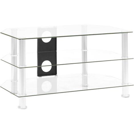 Mueble para televisor vidrio templado transparente 75x40x40 cm - Transparente