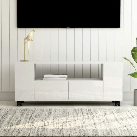 Mueble para TV aglomerado blanco brillante 120x35x43 cm