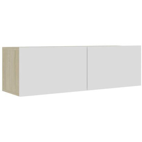 Mueble para TV aglomerado blanco y roble Sonoma 100x30x30 cm