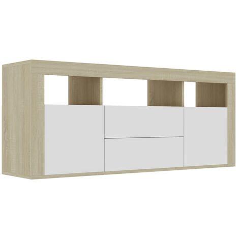 Mueble para TV aglomerado blanco y roble Sonoma 120x30x50 cm