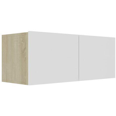 Mueble para TV aglomerado blanco y roble Sonoma 80x30x30 cm