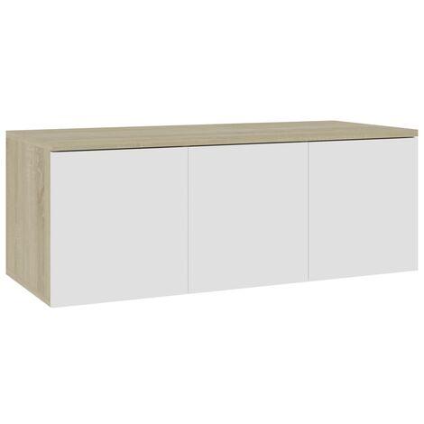 Mueble para TV aglomerado blanco y roble Sonoma 80x34x30 cm