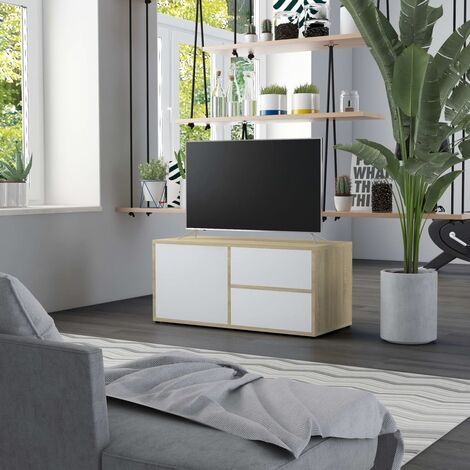 Mueble para TV aglomerado blanco y roble Sonoma 80x34x36 cm