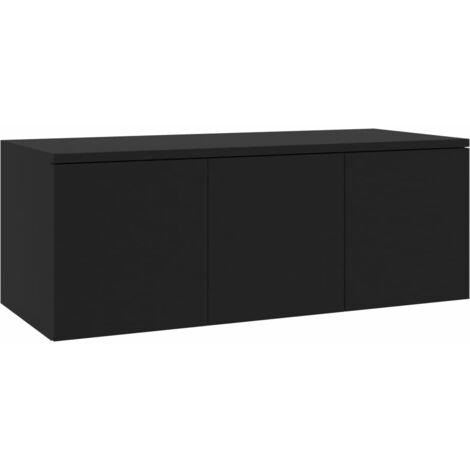 Mueble para TV aglomerado negro 80x34x30 cm