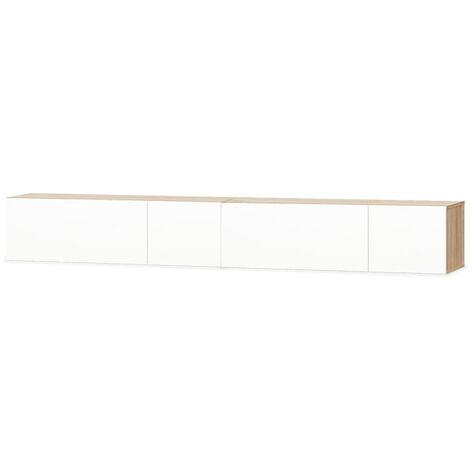 Mueble para TV aglomerado roble y blanco con brillo 2 piezas