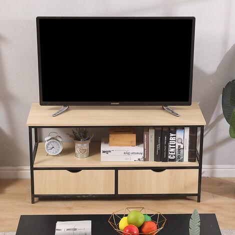 Mueble para TV  Armario para TV Mesa Baja Gabinete para Televisión con 2 Puertas 2 Compartimientos para Salón Escritorio 110x40x55cm