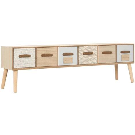 Mueble para TV con 6 cajones madera maciza de pino 130x30x40 cm