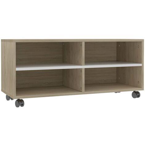 Mueble para TV con ruedas aglomerado blanco y Sonoma 90x35x35cm