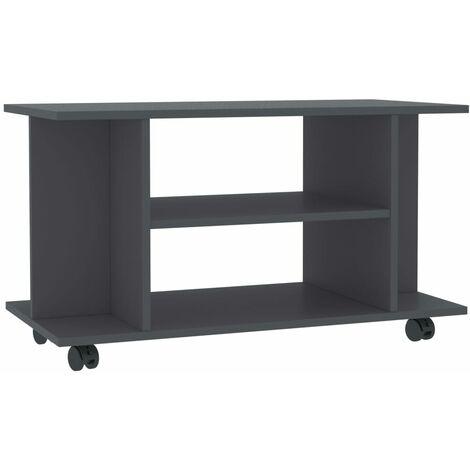 Mueble para TV con ruedas aglomerado gris 80x40x40 cm