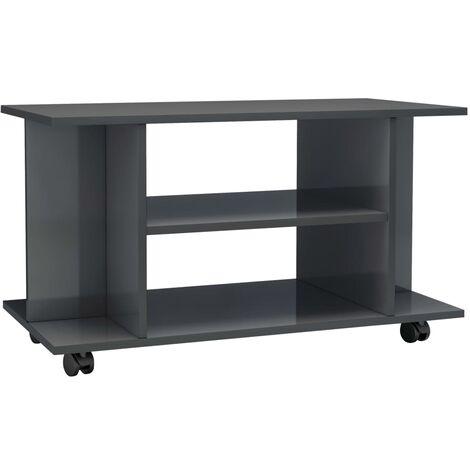 Mueble para TV con ruedas aglomerado gris brillante 80x40x40 cm