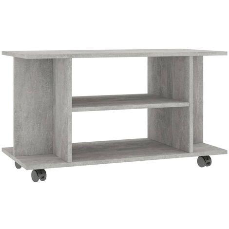 Mueble para TV con ruedas aglomerado gris hormigón 80x40x40 cm