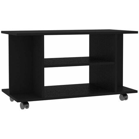 Mueble para TV con ruedas aglomerado negro 80x40x40 cm