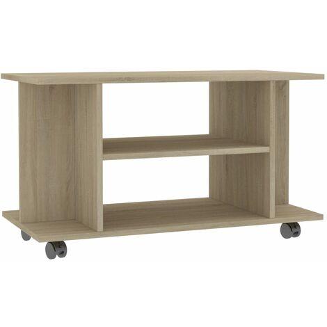 Mueble para TV con ruedas aglomerado roble Sonoma 80x40x40 cm