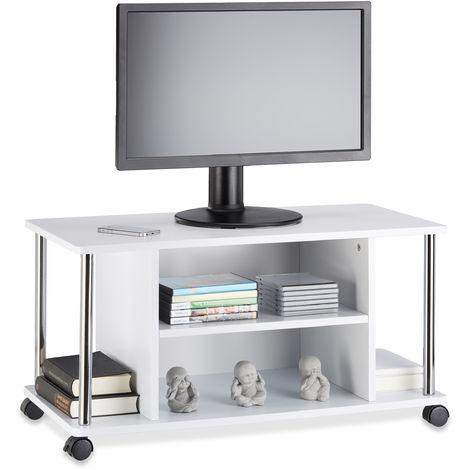 Mueble para TV con Ruedas, Madera-Acero Inoxidable, Blanco, 41.5 x 80 x 40 cm