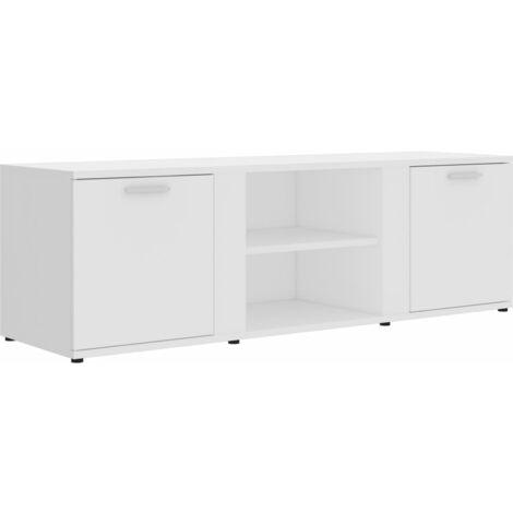 Mueble para TV de aglomerado blanco 120x34x37 cm