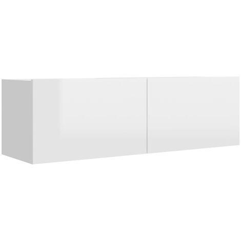 Mueble para TV de aglomerado blanco brillante 100x30x30 cm