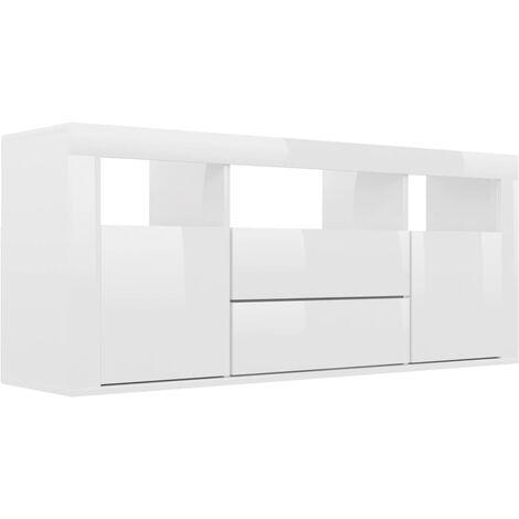 Mueble para TV de aglomerado blanco brillante 120x30x50 cm