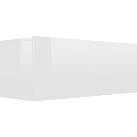 Mueble para TV de aglomerado blanco brillante 80x30x30 cm