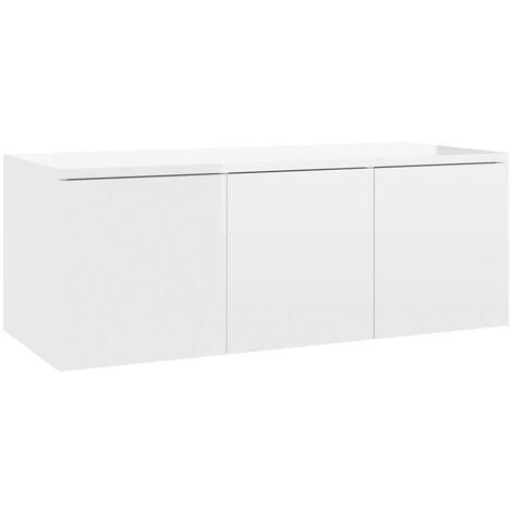 Mueble para TV de aglomerado blanco brillante 80x34x30 cm
