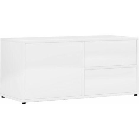 Mueble para TV de aglomerado blanco brillante 80x34x36 cm