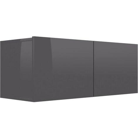 Mueble para TV de aglomerado gris brillante 80x30x30 cm