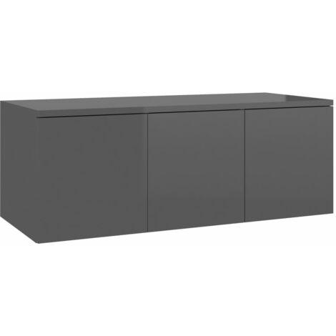 Mueble para TV de aglomerado gris brillante 80x34x30 cm