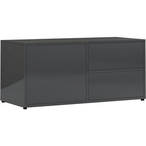 Mueble para TV de aglomerado gris brillante 80x34x36 cm
