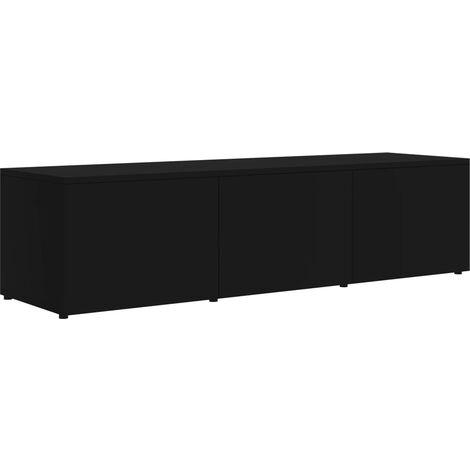 Mueble para TV de aglomerado negro 120x34x30 cm