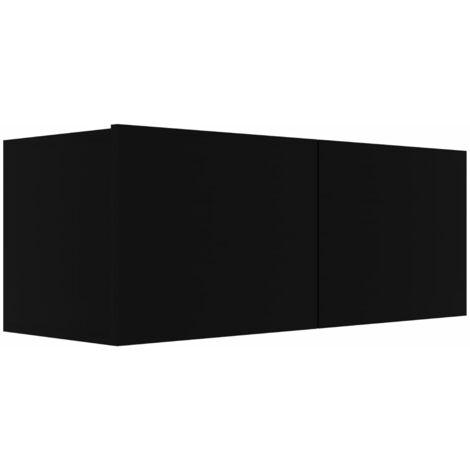 Mueble para TV de aglomerado negro 80x30x30 cm