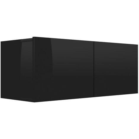 Mueble para TV de aglomerado negro brillante 80x30x30 cm
