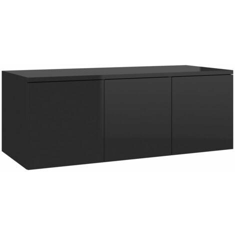 Mueble para TV de aglomerado negro brillante 80x34x30 cm