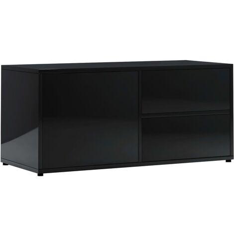 Mueble para TV de aglomerado negro brillante 80x34x36 cm