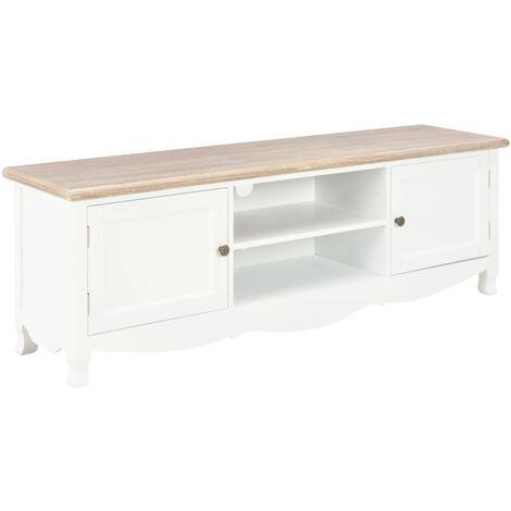 Mueble para TV de madera blanco 120x30x40 cm