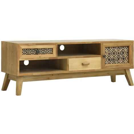 Mueble para TV madera tallada marrón 120x30x42 cm