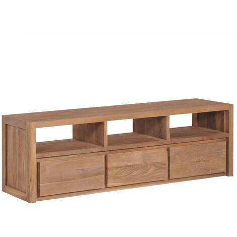 Mueble para TV madera teca maciza acabado natural 120x30x40 cm