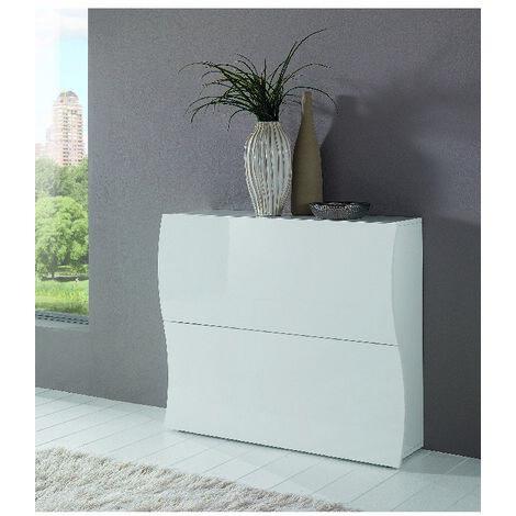 Mueble para zapatos Onda - Ahorro de espacio, zapatero - con estantes, puertas - para pasillo, dormitorio, bano - Blanco en Madeira, 101 x 26,6 x 81,4 cm