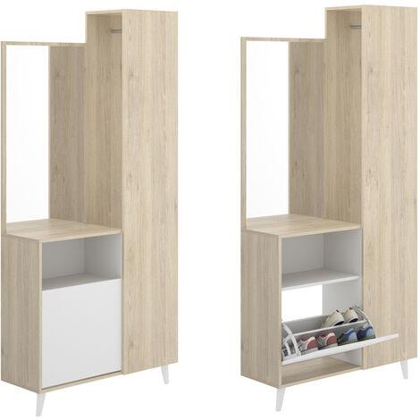Mueble Perchero con Espejo, Mueble Recibidor Acabado en Blanco y Natural, Medidas: Alto 197cm. Ancho 87cm. Fondo 30cm.