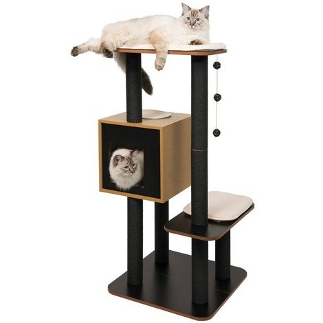 Mueble Rascador para Gatos V-High Base Vesper - Negro